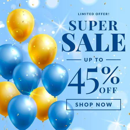 Bannière de vente avec des ballons. Modèle vectoriel pour les remises publicitaires sur le Web.