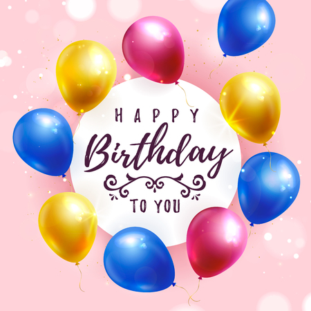 Happy Birthday greeting card with colorful balloons. Vector banner.