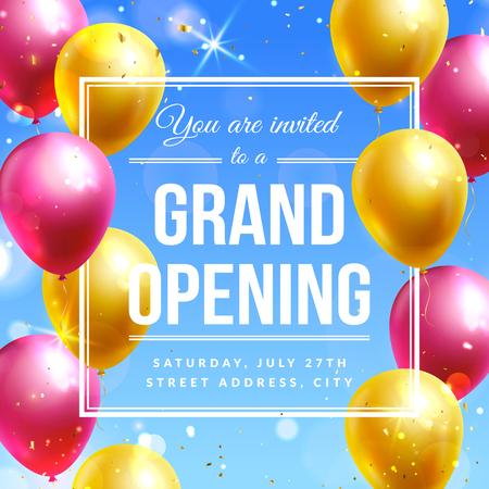 Banner de invitación de gran inauguración con globos de colores. Plantilla de vector. Ilustración de vector