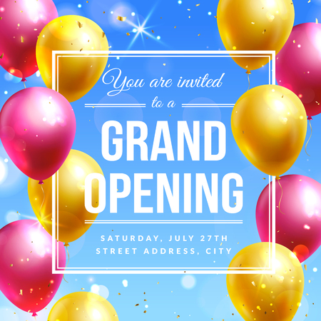 Grand opening invitation banner with colorful balloons. Vector template. Illustration