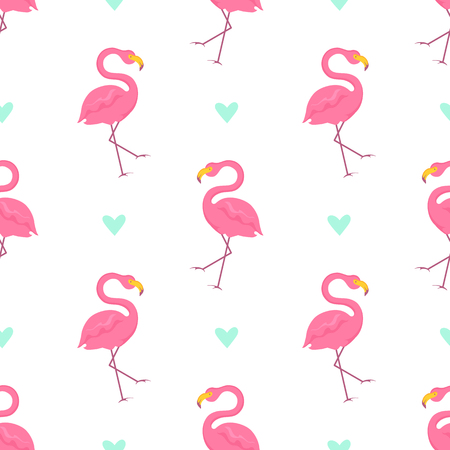 Seamless pattern with pink flamingos and turquoise hearts on white background. Vector illustration.  イラスト・ベクター素材