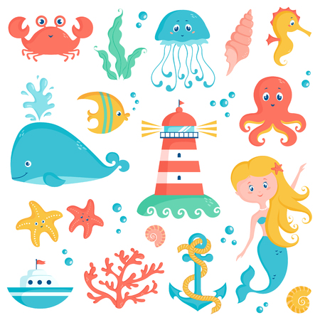 Sea animals, plants, and nautical objects - whale, seahorse, octopus, coral, lighthouse, anchor and other marine symbols. Set of vector elements. Cute illustrations isolated on a white background.