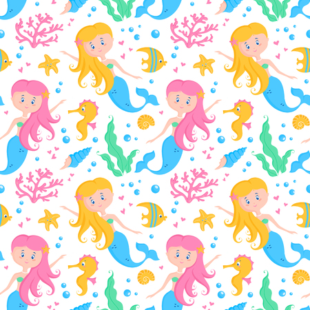 Seamless pattern with little mermaids, cute sea animals and plants - seahorses, fishes, starfishes, shells, corals, seaweeds. Undersea vector background. Childish print with cartoon marine elements. Illustration