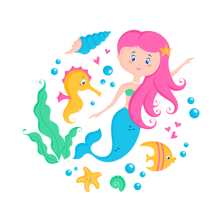 Little mermaid and cute sea animals: seahorse, fish, starfish, shell. Vector illustration for poster, card, kids apparel or invitation. Childish print with marine elements isolated on white background