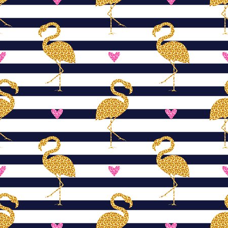 Seamless pattern with glitter flamingos and hearts on striped background. Vector illustration.  イラスト・ベクター素材
