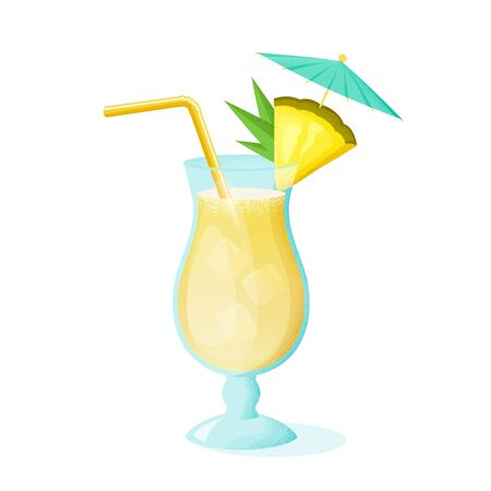 Pina Colada cocktail with pineapple slice, straw and umbrella. A glass of alcoholic drink isolated on white background. Vector illustration. Illustration