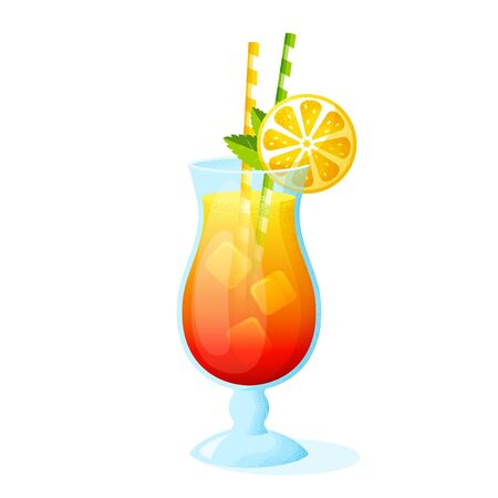 Summer cocktail with orange slice and straws. A glass of alcoholic drink isolated on white background. Vector illustration.