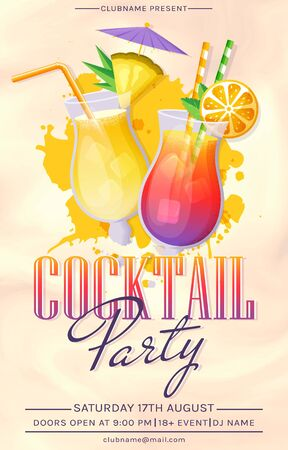 Cocktail party invitation. Vector flyer template with glass of tropical cocktail and paint splashes.
