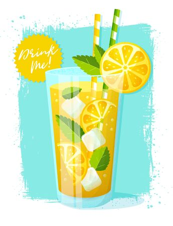 Poster with lemonade. Vector illustration with glass of refreshing summer drink with lemon slices, ice cubes and mint leaves on grunge background.  イラスト・ベクター素材