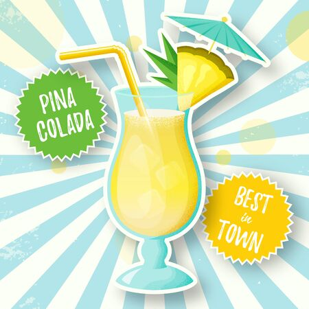 Banner with Pina Colada cocktail. Vector illustration. Glass of alcoholic drink with pineapple slice, straw and umbrella on retro burst background.