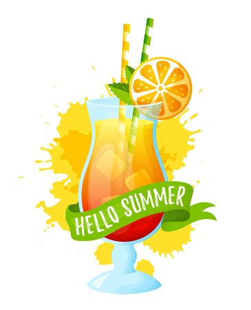 Hello summer! Tropical cocktail in glass. Vector illustration isolated on white background. Modern banner with refreshing drink, ribbon and juice splashes. Illustration