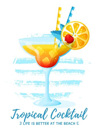 Banner with tropical cocktail and striped circle shape. Vector illustration isolated on white background. Glass of refreshing summer drink with orange slice, cherry, ice cubes and mint leaves.