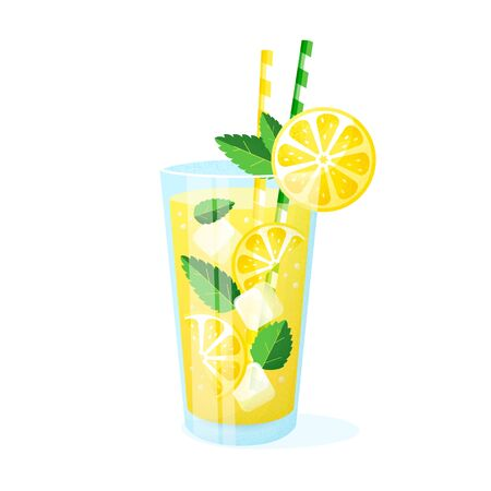 Lemonade in a glass. Vector illustration isolated on white background. Summer fruit drink with straws, lemon slices, ice cubes and mint leaves.