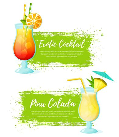 Set of vector banners with tropical cocktails. Paint brush strokes with place for text. Modern illustration isolated on a white background.