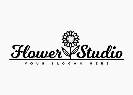 Flower studio. Vector sunflower emblem isolated on a white background.