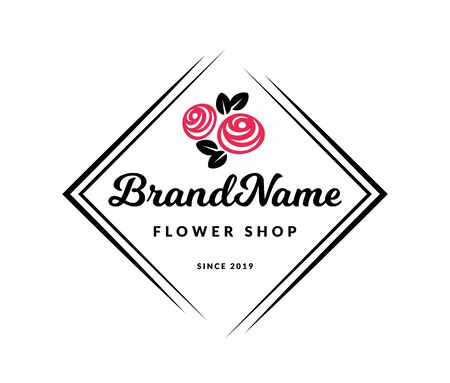 Flower shop . Vector floral emblem isolated on a white background.