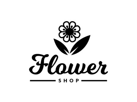 Flower shop. Vector floral symbol isolated on a white background. Illustration