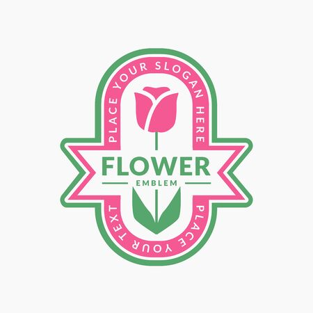 Flower emblem isolated on a white background. Vector template for floral with tulip. Stock Illustratie