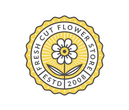 Flower store emblem isolated on a white background. Vector template for floral in colored outline style.