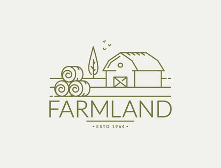 Farm  isolated on white background. Line emblem with farmhouse and hay bales for natural products, organic food or farmer's market. Vector outline symbol.