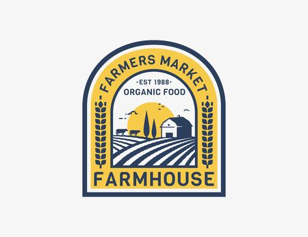 Farm House isolated on white background. Retro emblem with farmhouse, cows and fields for natural farm products, organic food, farmers market. Vector label.