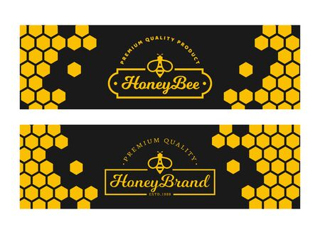 Banners with honeycomb and bee for natural honey products. Vector templates. Set of horizontal black and yellow labels isolated on a white background.