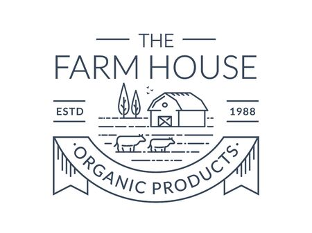 Farm isolated on white background. Black line emblem with farmhouse and cows. Vector outline badge for natural milk products, organic food company, dairy farms or farmers market.