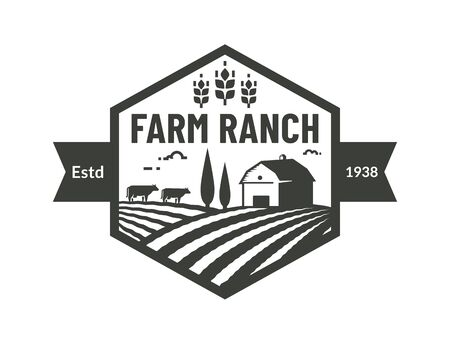 Farm. Template of emblem with farmhouse, cows and wheat ear. Black badge for ranch farming, natural products and organic food company. Vector illustration isolated on white background.