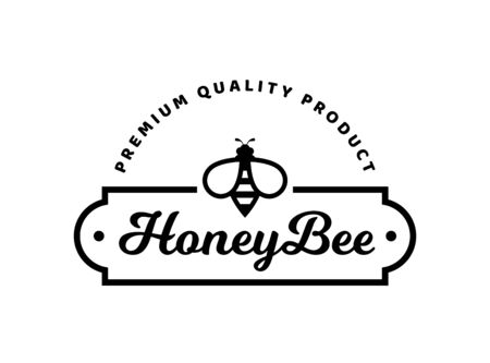 Vector emblem for honey products with bee. template. Black sign isolated on a white background.