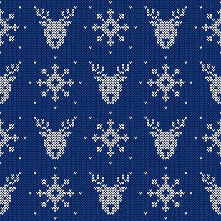 Patrón sin costuras de punto con ciervos y copos de nieve. Fondo de vector. Adorno de suéter azul y blanco para Navidad o diseño de invierno. Ilustración de vector