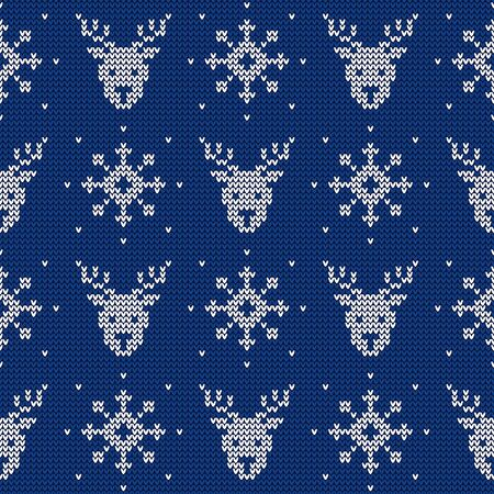 Knitted seamless pattern with deers and snowflakes. Vector background. Blue and white sweater ornament for Christmas or winter design. Illustration