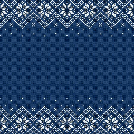 Knitted seamless background with copyspace. Blue and white sweater pattern for Christmas or winter design. Traditional scandinavian border ornament and place for text. Vector illustration.