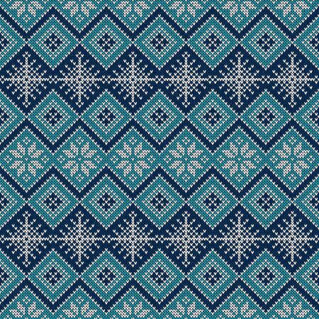 Knitted seamless pattern with snowflakes and traditional scandinavian ornament. Blue and white sweater background for Christmas, New Year or winter design. Vector illustration.