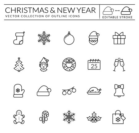 Christmas and New Year web icon set. Outline vector collection for Xmas and Season's Greetings themes. Black symbols isolated on white background. Editable stroke - easy to adjust lines weight. Illustration