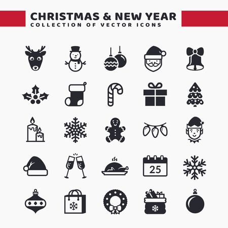 Christmas and New Year web icon set. Vector collection for Xmas and Seasons Greetings themes. Black symbols isolated on white background.
