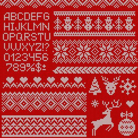 Modelli di maglione lavorato a maglia, elementi e alfabeto per Natale, Capodanno o design invernale. Set vettoriale di ornamenti scandinavi, lettere e simboli di vacanza: renne, fiocchi di neve, alberi di Natale, ecc.