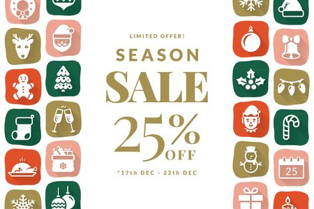 Christmas sale banner with flat icons. Modern background with holiday season symbols and place for text. Horizontal vector template for Christmas and New Year discounts.