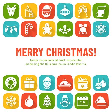 Christmas banner with flat icons and copy space. Vector background with holiday symbols on colorful squares and with place for text. Merry Christmas greeting card.