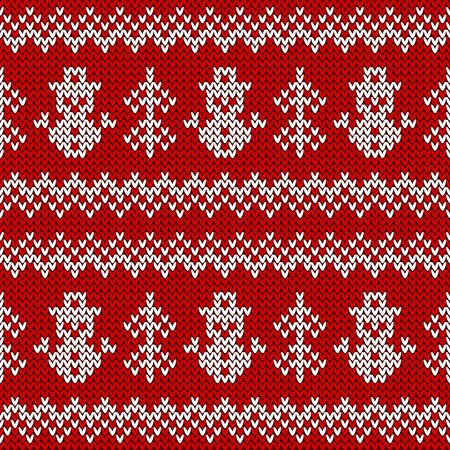 Knitted seamless pattern with snowmen and Christmas trees. Vector background. Red and white sweater ornament for winter holidays design.