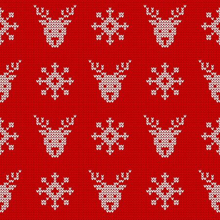 Knitted seamless pattern with deers and snowflakes. Vector background. Red and white sweater ornament for Christmas or winter design.