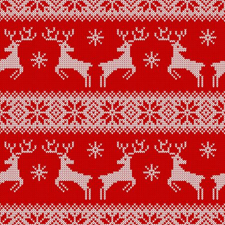 Knitted seamless pattern with deers, snowflakes and scandinavian ornament. Red and white sweater background for Christmas or other winter holidays design. Vector illustration.