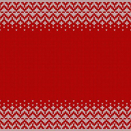 Fondo transparente tejido con copyspace. Patrón de suéter rojo y blanco para Navidad o diseño de invierno. Ornamento de borde abstracto y lugar para el texto. Ilustración vectorial.