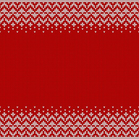 Knitted seamless background with copyspace. Red and white sweater pattern for Christmas or winter design. Abstract border ornament and place for text. Vector illustration.