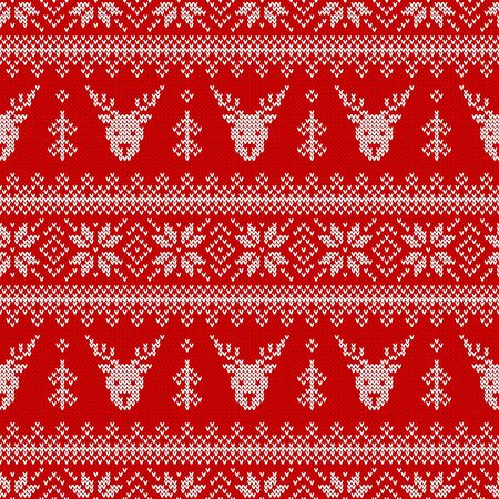 Knitted seamless pattern with deers, Christmas trees and scandinavian ornament. Red and white sweater background for winter holidays design. Vector illustration.