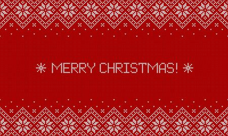 Merry Christmas! Knitted sweater background with greeting text. Red and white horizontal banner with traditional scandinavian patterns. Vector illustration.