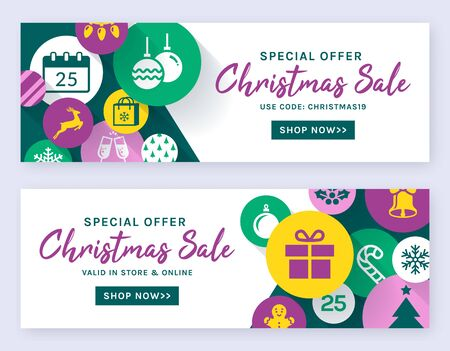 Christmas sale banners. Vector web templates. Horizontal labels set for holidays discounts and online shopping offers.
