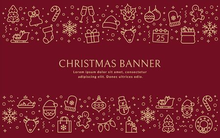 Christmas banner with outline icons. Vector background with holiday line symbols and copy space for your text. Horizontal greeting card for winter holiday season.