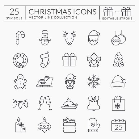 Christmas and New Year web icon set. Outline vector collection for winter holiday themes. Black symbols isolated on white background - Santa, snowman, Christmas tree, snowflake, etc. Editable stroke.