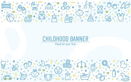 Baby banner with line icons - children's toys, food, clothes. Newborn and kids, feeding and care themes. Vector horizontal background with outline symbols and copy space.