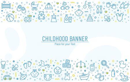 Banner per bambini con icone di linea - giocattoli per bambini, cibo, vestiti. Temi per neonati e bambini, alimentazione e cura. Fondo orizzontale di vettore con i simboli del profilo e lo spazio della copia.
